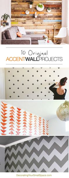 10 Awesome Accent Wall Ideas For Your Room Decoration Design, Deco Design, Photowall Ideas, Ideias Diy, My New Room, Home Projects, Small Spaces, Diy Home Decor, New Homes