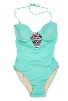 Tribal sea-foam bathing suit.love it! I like full pieces for swimming in the ocean :))