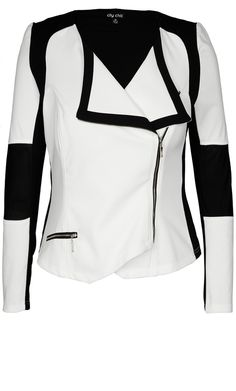 Plus Size Mono Biker Jacket - City Chic