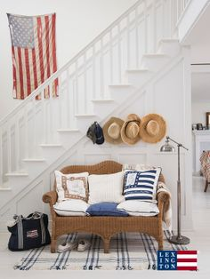 Beautiful vintage American Flag on the wall! I also like the place to hang hats. Lord knows we'll have some hats to hang.