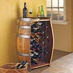 """Small wine """"cellar"""" design.... use a wine barrel from the winery we were married at"""