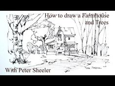 How to Draw a Farm House and birch trees. 4x speed, Quick Fun and Easy. With Peter Sheeler - YouTube