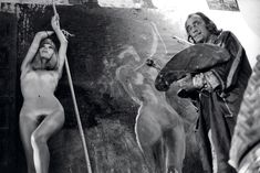 Salvador Dali painting Amanda Lear, Spain, 1971, photo Yul Brynner