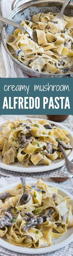 Easy, simple, and super creamy mushroom Alfredo pasta. One of my favorite quick meals! | prettysimplesweet.com