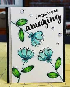 I tried a different blue-ish combo on this card using these fun flowers from Bullet Journal Banner, Bullet Journal Mood, Bullet Journal School, Bullet Journal Ideas Pages, Bullet Journal Inspiration, Flower Doodles, Watercolor Cards, Flower Cards, Doodle Art
