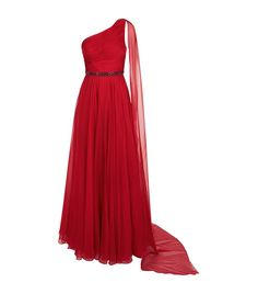 Jovani One Shoulder Cape Gown Red | Harrods.com