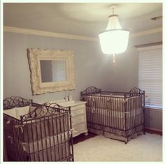 Mom Heather is overcome with joy as the nursery for her twins comes together. The casablanca cribs in pewter look great with the matching neutral bedding sets.