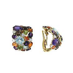 Roberto Coin Shanghai Multi-Colored Stones & Brown Diamond Earrings