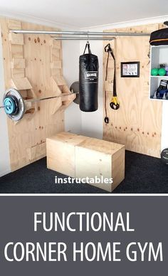 Functional corner home gym # woodworking, . - Functional corner home gym # woodworking, Informations About Funkt - Home Gym Garage, Diy Home Gym, Gym Room At Home, Basement Gym, Home Gyms, Crossfit Garage Gym, Home Gym Decor, Basement Ideas, Diy Gym Equipment