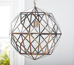 """PBK $350  19"""" diameter, 19"""" high Cast of iron with glass pieces and hand-painted gold finish. Cord adjusts to your preferred height. UL-listed. Plug in or hardwire. Glass & Metal Cage Pendant"""