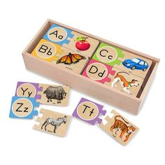 Alphabet Wooden Puzzle Cards and thousands more of the very best toys at Fat Brain Toys. Self-correcting alphabet & animal puzzle cards. Wooden Alphabet Letters, Upper And Lowercase Letters, Lower Case Letters, Alphabet Letter Crafts, Alphabet Stamps, Magnetic Letters, Alphabet Cards, Learning The Alphabet, Learning Toys