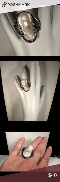 Natural baroque pearl ring Natural Baroque Pearl Ring. 925 Sterling Silver Alloy . Jewelry Rings