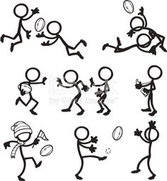 Stick Figure Peoples Playing Aussie Rules Football