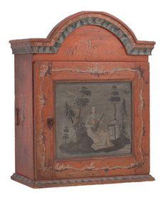 Hengeskap, sekundær malt dekor, dat. 1797. (92x74x30cm)