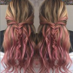 subtle pink ombre for brown blonde