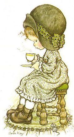 Sarah Kay my cup of tea, stupid Coffee junkies! Sarah Key, Sarah Kay Imagenes, Vintage Cards, Vintage Images, Cute Images, Cute Pictures, Decoupage, Hobby Horse, Holly Hobbie