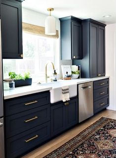 Copy these Fabulous 5 Kitchens with Farmhouse Kitchen Decor Accents - Check out these amazing farmhouse kitchens and recommended accents to get the look! Home Decor Kitchen, New Kitchen, Home Kitchens, Kitchen Ideas, Kitchen Layouts, Kitchen Designs, Kitchen Furniture, Wood Furniture, Kitchen Helper