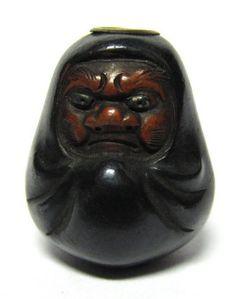 Antique Japanese ojime (toggle bead) in the form of Bodhi Darma (Daruma)