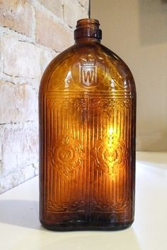 Antique Amber Glass Gooderham and Worts Whiskey Bottle by NoVeto