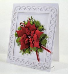 Paper: White, Red, Olive Accessories: Spellbinder Poinsettia Die Set, Martha Stewart Holly and Pine Branch Punches, Nestabilities, Grosgrain, Mat, Stylus, Glossy Accents, Pearls