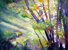 """Early Morning Maples""  by Mary Gibbs.  Lovely use of colors and depiction of light filtering through the woods."
