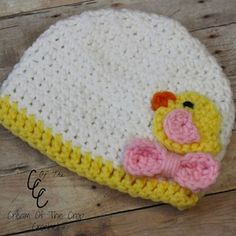 Preemie Chick Appliqué Hat - Free by Brie of Cream of the Crop Crochet | Chicks Part 2 - Animal Crochet Pattern Round Up - Rebeckah's Treasures