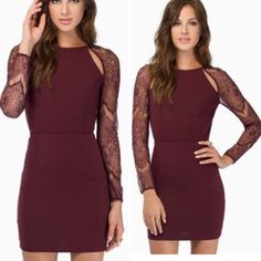 NWT TOBI Long Sleeve Wine Dress Super cute TOBI long sleeve dark maroon colored dress. Cutouts on front and back, lace long sleeves, bodycon. Only flaw is a small tear in the lace as pictured, from trying it on. Easily fixable. Tobi Dresses Mini
