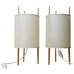 Pair of Three-Legged Cylinder Lamps, 'Nr. by Isamu Noguchi White Furniture, Antique Furniture, Cool Furniture, Modern Furniture, Furniture Design, Isamu Noguchi, Mid Century Lighting, Contemporary Lamps, Vintage Lighting