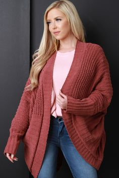 Rust Soft Cable Knit Cardigan
