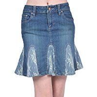 AvaCostume Womens Lace Flare Denim Pencil Skirts skirt AvaCostume Women's Irregular Lotus Leaf Mermaid Fish Tail Long Skirt, M, Green Artisanats Denim, Denim Flares, Denim And Lace, Sewing Jeans, Sewing Clothes, Diy Clothes, Clothes Refashion, Denim Pencil Skirt, Pencil Skirts