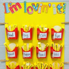 Overused words bulletin board! The overused word is on the fry container... each fry is a word to use instead! SO COOL!!