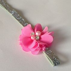 Silver Glitter with Pink Embellished Flower Elastic Headband  on Etsy, $5.50