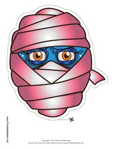 You can tell this mummy is a girl because she's wearing pink bandages. Her blue skin, long eyelashes, and trailing wrappings make this a great mummy mask for any lady. Free to download and print