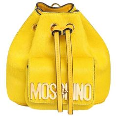 Moschino Women Mini Ponyskin Backpack (2.712.760 COP) ❤ liked on Polyvore featuring bags, backpacks, yellow, logo backpacks, mini rucksack, draw string backpack, day pack backpack and mini shoulder bag