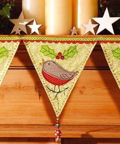inspiredtomake - Christmas Robin Bunting Christmas Bunting, Christmas Cushions, Christmas Applique, Diy Christmas Gifts, Christmas Decorations, Christmas Ornaments, Christmas Sewing Projects, Holiday Crafts, Christmas Makes