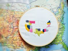 Embroidered USA Map- perfect for those in a long distance relationship or military families who are on the move- show where you've lived and been! - From Handmade Is Better