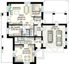 Dwupokoleniowy V NF40 projekt - Parter 115.78 m²  + garaż 37.68 m²