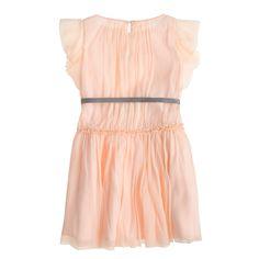 Girls' ruffle-sleeve dress in silk chiffon : Special Occasion | J.Crew