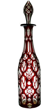 Ruby Red Cut Glass Decanter Bottle with Stopper Engish Victorian