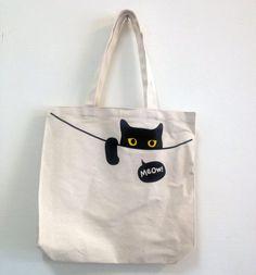 Bag a Meow - superB studio | Pinkoi Diy Tote Bag, Drawstring Bag Diy, Diy Bags, Reusable Tote Bags, Cloth Bags, Tote Handbags, Purses And Handbags, Painted Bags, Jute Bags