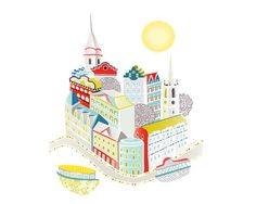 Stockholm art print Swedish Skyline Wall Art from by lauraamiss