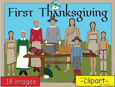This clip art packet features people and objects related tothe first American Thanksgiving of 1621.Images are provided in color and blackline.Please see the image list below:-Pilgrim boy-Pilgrim girl-Pilgrim man-Pilgrim woman-Wampanoag boy-Wampanoag girl-Wampanoag man-Wampanoag woman-acorn squash -fork-oyster-samp (cornmeal mush)-scallop squash-spoon-table-turkey-venison-wooden bowlThis product is a .zip file. $5.00
