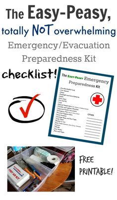 Emergency/Evacuation Preparedness Kit Free Printable Checklist!