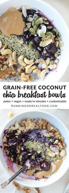 Whip up these simple and delicious, grain-free Coconut Chia Breakfast Bowls for a healthy breakfast or snack anytime, they even work for dessert! The base is made from coconut, chia seeds and water or plant-based milk and takes just minutes to prepare. Ju http://healthyquickly.com