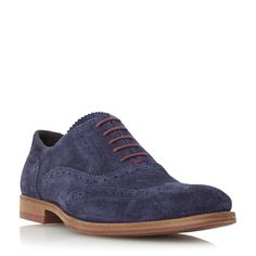 Dune Budleigh Colour Pop Lace-up Suede Brogues, Navy