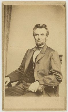 Relaxed and confident pose of President Lincoln (CDV by Brady Studio c.1864).  *s*