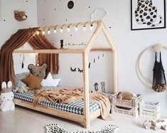 kleinkind zimmer Montessori toddler beds are amazing kids teepee wood house bed for children. Adorable children furniture will make transitioning from a nursery bed or baby bed to a c Baby Room Design, Baby Room Decor, Nursery Decor, Project Nursery, Nursery Ideas, Bedroom Decor, Toddler Bed Frame, Toddler House Bed, House Beds For Kids