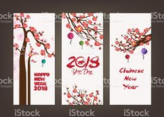 Vertical hand drawn banners set with blossom chinese New Year royalty-free stock vector art