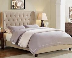 Mayes Wingback Upholstered Queen Bed