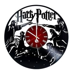 Harry Potter Magicians Design Handmade Vinyl Record Wall Clock - Get Unique Living Room, Bedroom Wall Decor - Gift Ideas for Boys and Girls – Movie Characters Design Unique Fan Art Old Vinyl Records, Vinyl Record Clock, Record Wall, Clocks Fall Back, Vynil, Clock Art, Wall Clocks, Scroll Saw Patterns Free, Disney Rooms